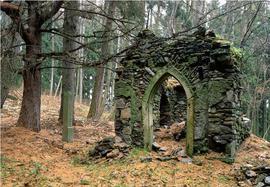 Las nad Porębą w Górach Bystrzyckich – ruina kaplicy i drogi krzyżowej